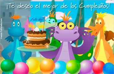 Tarjeta para cumpleaños con dragón