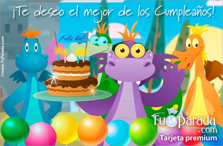 Tarjeta - Tarjeta para cumpleaños con dragón