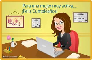 Tarjeta de cumpleaños para mujer activa