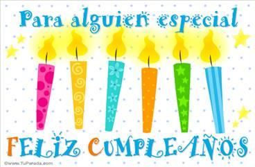 Tarjeta con velas de cumpleaños