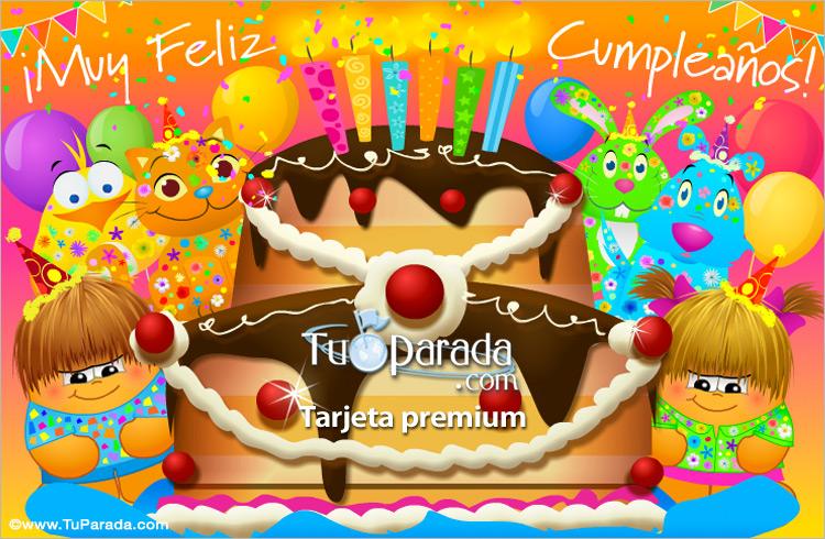 Tarjeta - Tarjeta de cumpleaños con gran torta