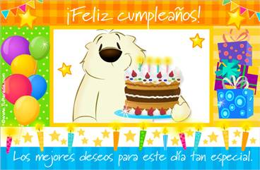 Tarjeta de cumpleaños colorida con torta