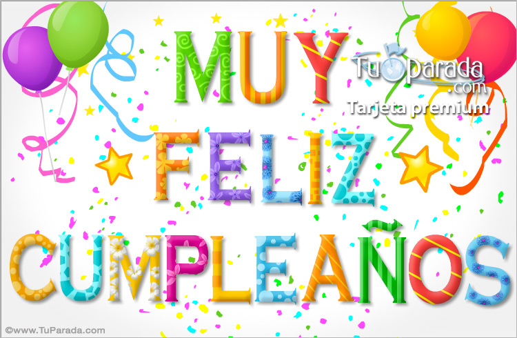 Tarjeta - Tarjeta de cumpleaños - Letras decoradas