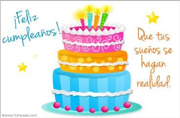 Postal de cumpleaños con pastel