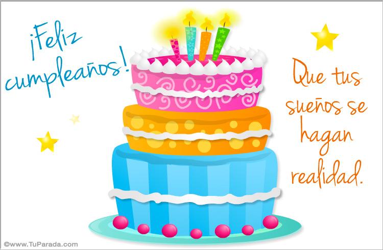 Tarjeta - Postal de cumpleaños con pastel