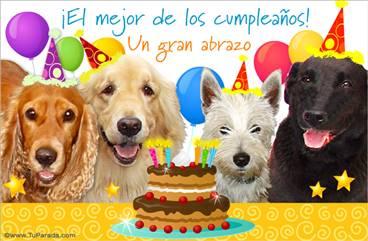 Tarjeta de cumpleaños con perros