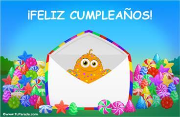 Tarjeta de cumpleaños con caramelos