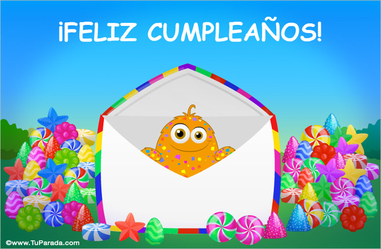 Tarjeta - Tarjeta de cumpleaños con caramelos