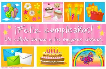 Ecard de cumpleaños rosa con cupcakes