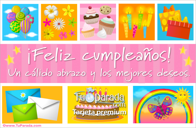 Tarjeta - Ecard de cumpleaños rosa con cupcakes