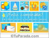 Postal de cumpleaños con cupcakes y velas