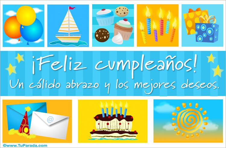 Tarjeta - Postal de cumpleaños - Cupcakes y velas