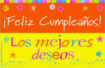 Tarjeta de cumpleaños, diseño multicolor