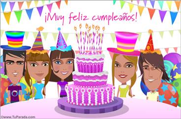 Torta de cumpleaños rosa festiva