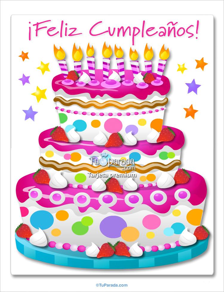 Tarjeta - Torta de cumpleaños gigante en magenta