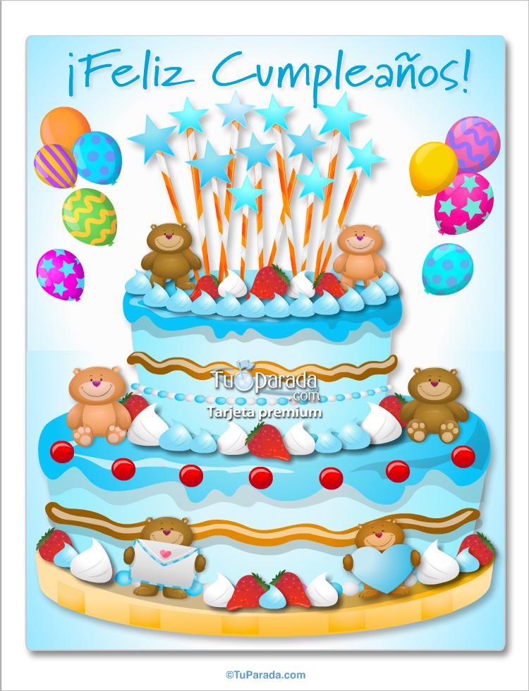 Tarjeta - Torta gigante en celeste suave