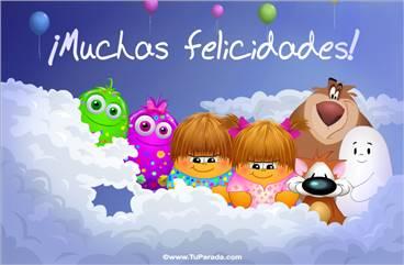 Felicidades con globos y saludos