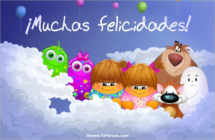 Tarjeta - Felicidades con globos y saludos