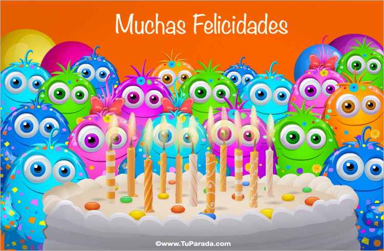 Tarjeta - Fiesta de cumpleaños con saludo