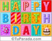 Happy Birthday en colores pastel y diseños de fondos decorativos.