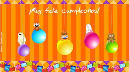 Tarjeta de cumpleaños con globos de colores.
