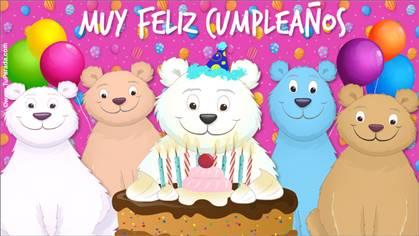 Tarjeta de cumpleaños con oso y familiares