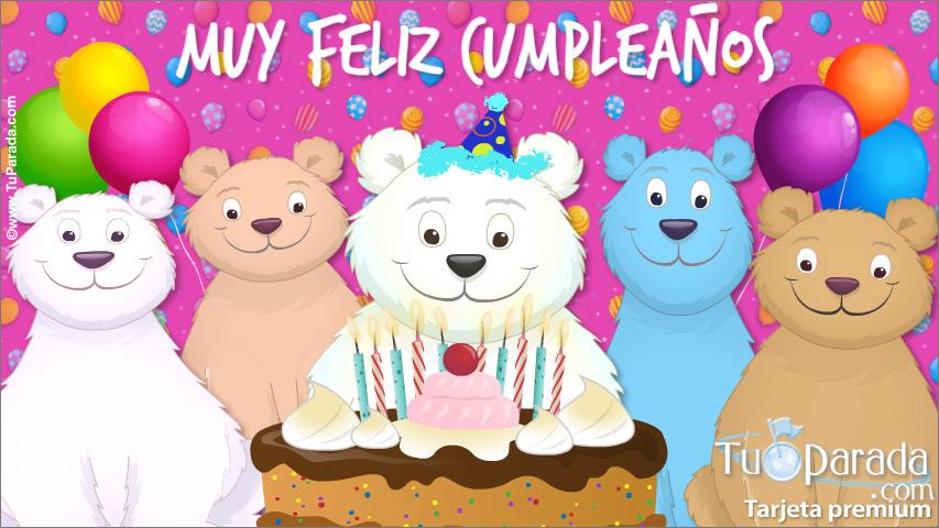 Tarjeta - Tarjeta de cumpleaños con oso y familiares
