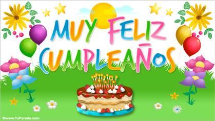 Tarjeta de muy feliz cumpleaños con torta