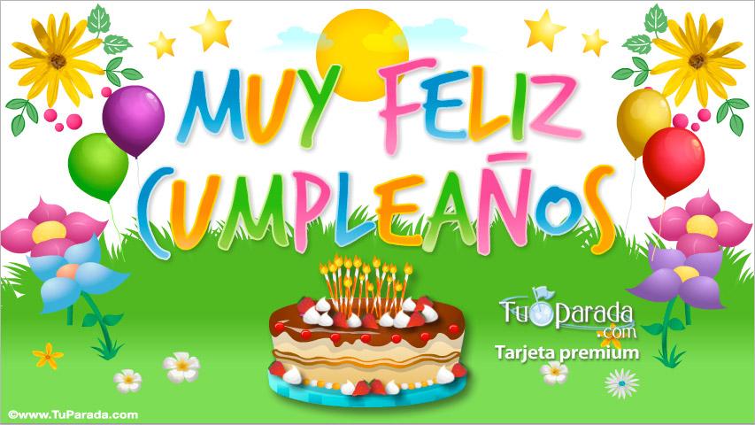 Tarjeta - Tarjeta de muy feliz cumpleaños con torta