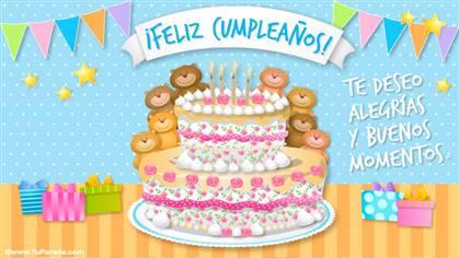 Tarjeta de feliz cumpleaños con ositos y torta