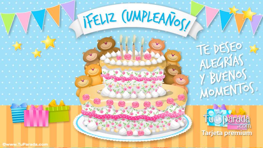 Tarjeta - Tarjeta de feliz cumpleaños con ositos