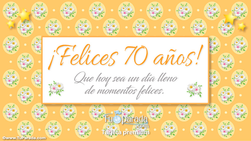 Tarjeta - Felices 70 años