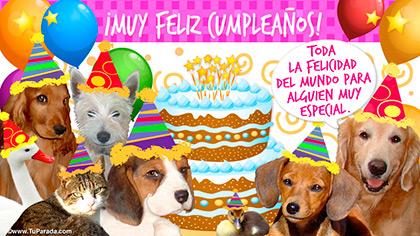 Feliz cumpleaños con simpáticos perros
