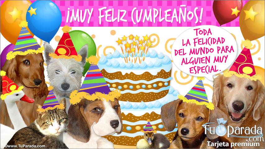 Tarjeta - Feliz cumpleaños con simpáticos perros