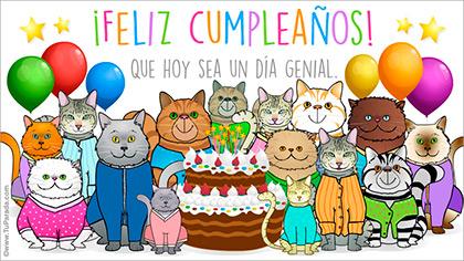 Tarjeta de cumpleaños con gatos