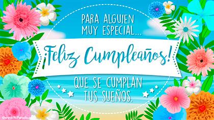 Tarjeta de cumpleaños con mar y flores