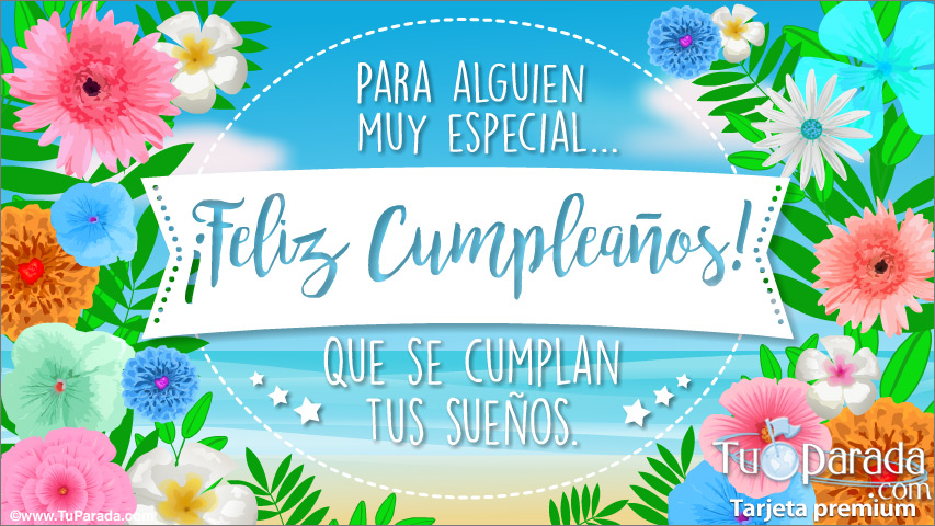 Tarjeta - Tarjeta de cumpleaños con mar y flores