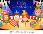 Tarjetas postales: Tarjeta de cumpleaños con circo
