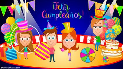 Tarjeta de cumpleaños con circo