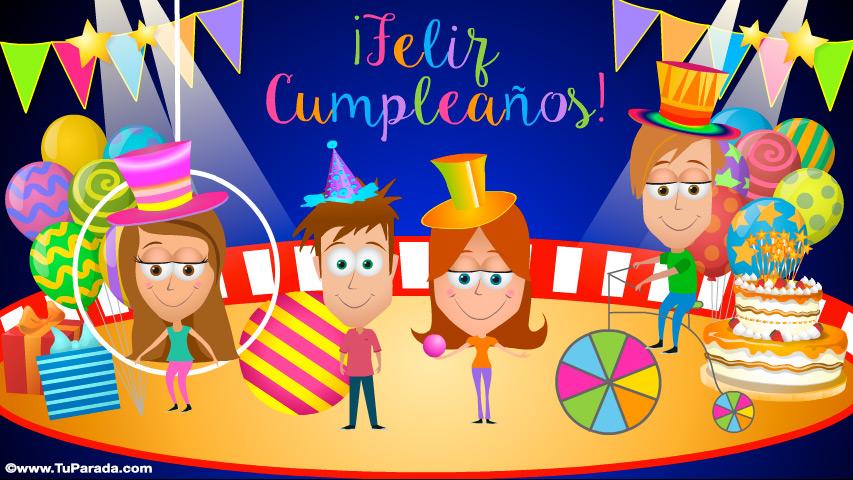 Tarjeta - Tarjeta de cumpleaños con circo