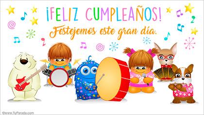 Tarjeta de cumpleaños con orquesta