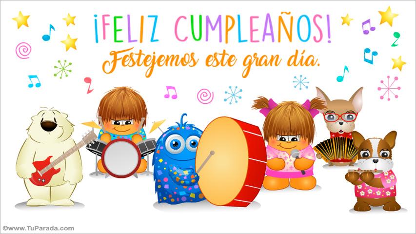Tarjeta - Tarjeta de cumpleaños con orquesta
