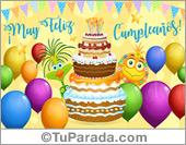 Tarjetas postales: Feliz cumpleaños, torta y pájaros