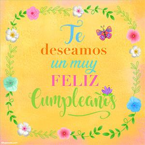 Tarjeta de cumpleaños, deseos de muchas felicidades en colores pastel.