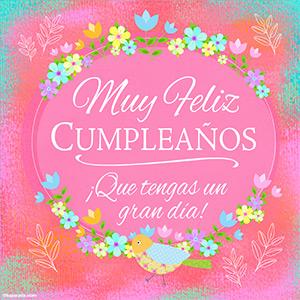Ecard de cumpleaños en rosa