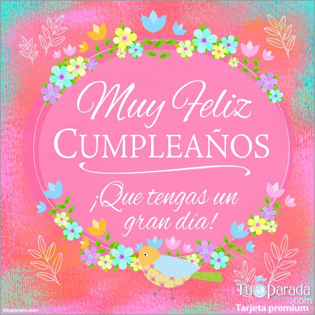 Tarjeta - Ecard de cumpleaños en rosa