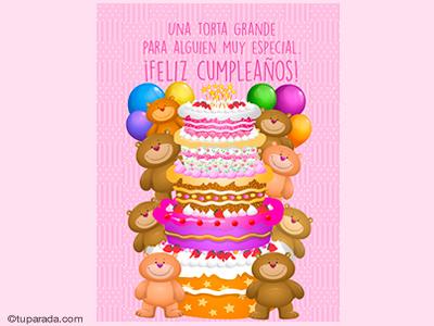 Tarjeta de cumpleaños con torta grande y rosa para alguien especial.