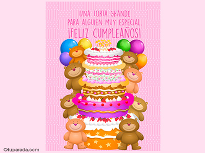 Torta grande de cumpleaños en rosa