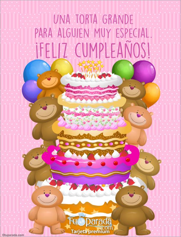 Tarjeta - Torta grande de cumpleaños en rosa