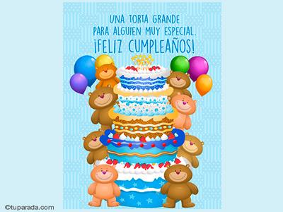 Tarjeta de cumpleaños con torta grande en celeste para un gran día.